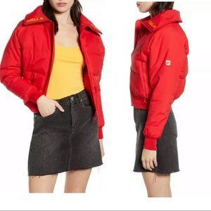 Fila Maiko Sportswear Puffer Crop Jacket Red LOGO